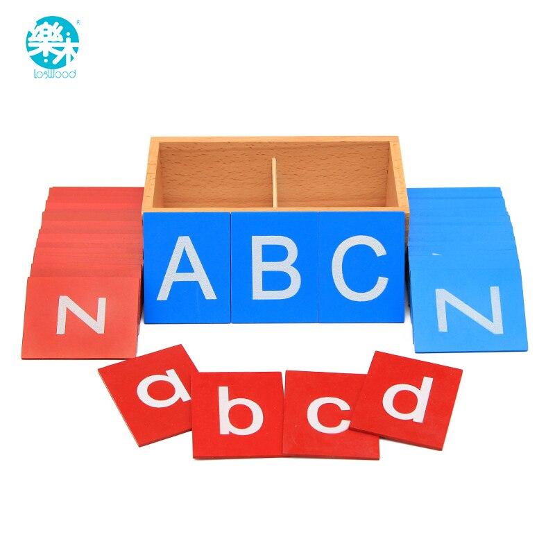 Bébé Jouets Montessori Inférieur Et Capital Cas Papier de Verre Lettres Boîtes En Bois Jouets Éducatifs Pour Enfants Développement Précoce Cadeau