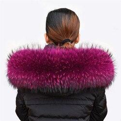 Frauen Winter Mantel Weibliche Warme Schal Dicken Waschbären Pelz Kragen Schals Hals Wärmer 100% Natürliche Pelz Kragen Echtpelz Schal