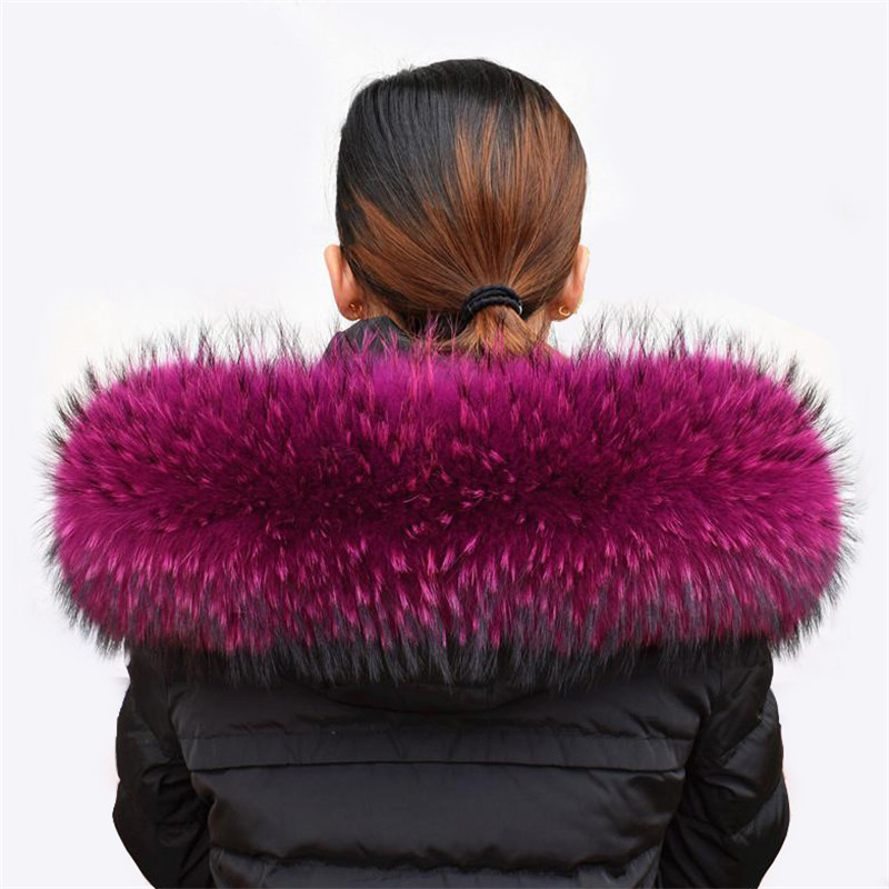 Women Winter Coat Female Warm Shawl Thick Raccoon Fur Collar Scarves Neck Warmer 100% Natural  Fur Collar Real Fur Scarf