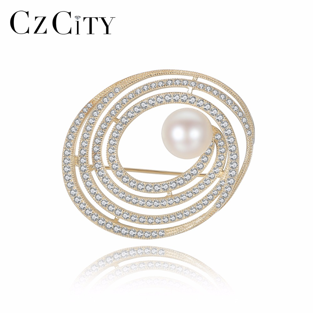 CZCITY 925 Sterling Silver Brooch For Women Elegant CZ Crystal Freshwater Pearl Corsages Brooches Female Sweater Suit Accessory elegant faux pearl embellished brooch for women
