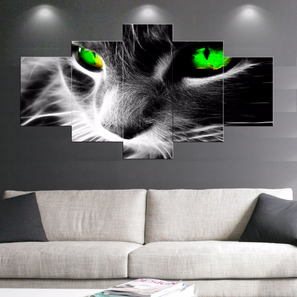5 ks Black White Green Eye Cat Canvas Print Malování na stěnu Umělecké obrázky do obývacího pokoje dekorativní obrazy cuadros