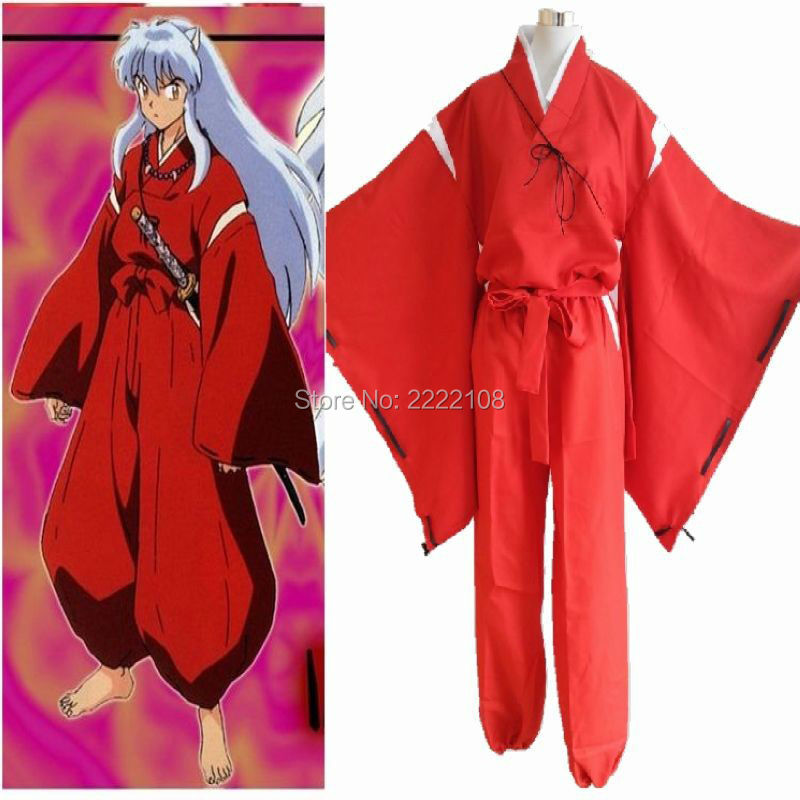 necklace COS INUYASHA Bright Red Kimono Costume Cosplay Uniform Any Size