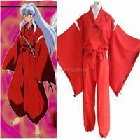 Moda Anime Inuyasha Inuyasha Cosplay Traje Uniforme Kimono Rojo Fiesta de Halloween de Los Hombres de la Capa + Pantalones + peluca + orejas + collar + Pulsera