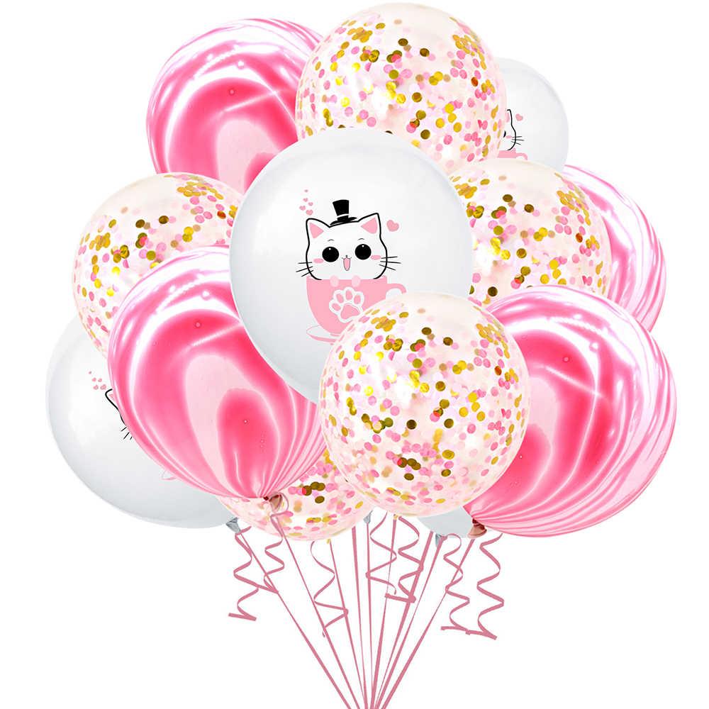 12 Inch Kartun Cangkir Kucing Anjing Lateks Balon Batu Akik Confetti Balon Udara Kue Topper untuk Bayi Shower Anak-anak Ulang Tahun Pernikahan pesta
