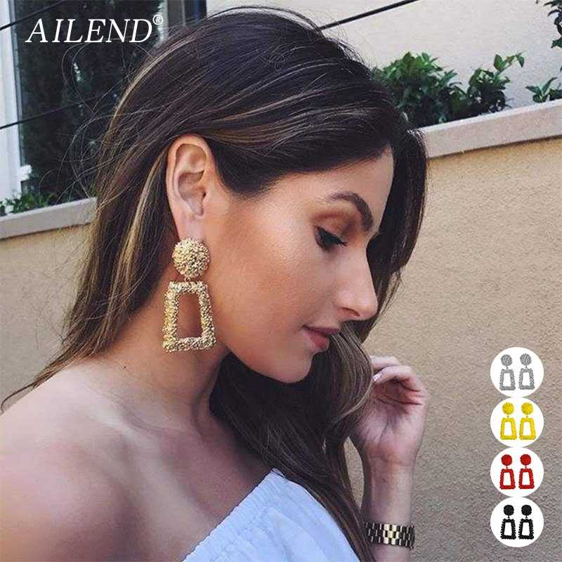AILEND Vintage earrings for women earrings jewelry geometric pendant 2019 metal pendant fashion trend jewelry party