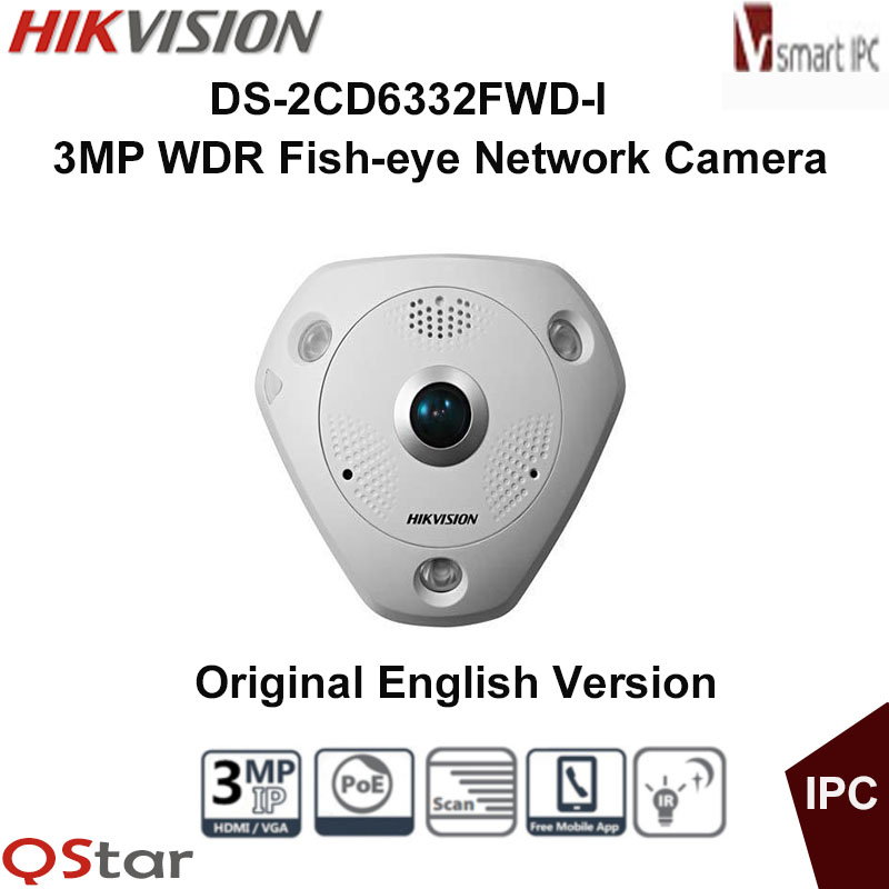Hikvision Original English Version DS-2CD6332FWD-I 3MP PoE WDR 360 Degree Fisheye e-PTZ Dome IR IP Camera 15m DHL Free Shipping free shipping english version ds 2cd4132fwd iz 3mp 120db wdr smart ip indoor dome camera support 128g poe
