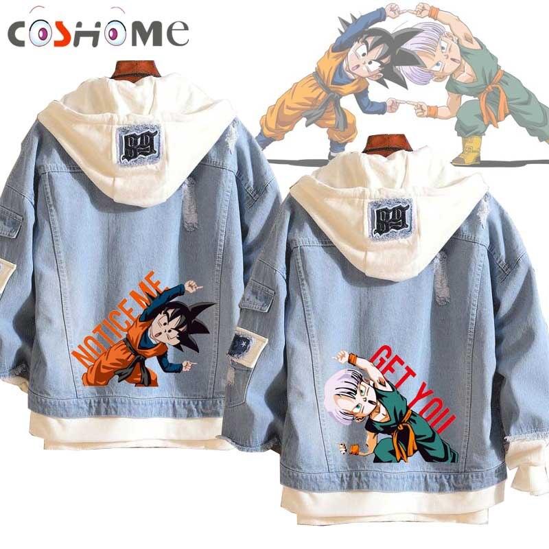 Coshome Anime Dragon Ball Son Goten Trunks Hoodie Spring Denim Jacket Men Women Couple Coat Streetwear
