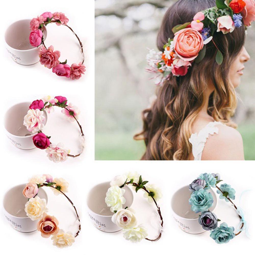 Sweet Bohem Bride Women Flower Crown Hair Band Wedding Floral Headband Garland Girl Flower Wreath Hair Accessories 2019