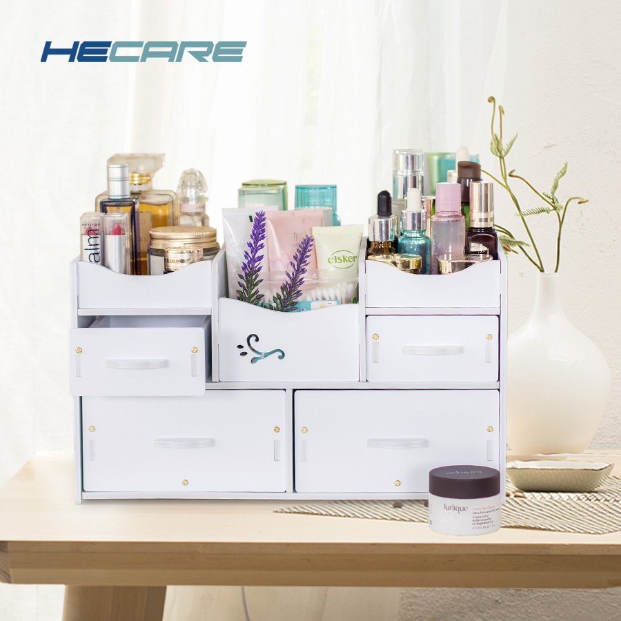 Washable White Cosmetic Organizer Plastic for Cosmetics Storage DIY Makeup Drawer Home Rangement Box 2019
