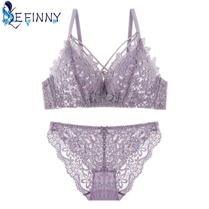 2018 New Sexy Women Bra Set Cozy Luxury Embroidery Push Up Bra Girl B Cup Hollow Lingerie Fashion Comfortable Cotton Brief Set