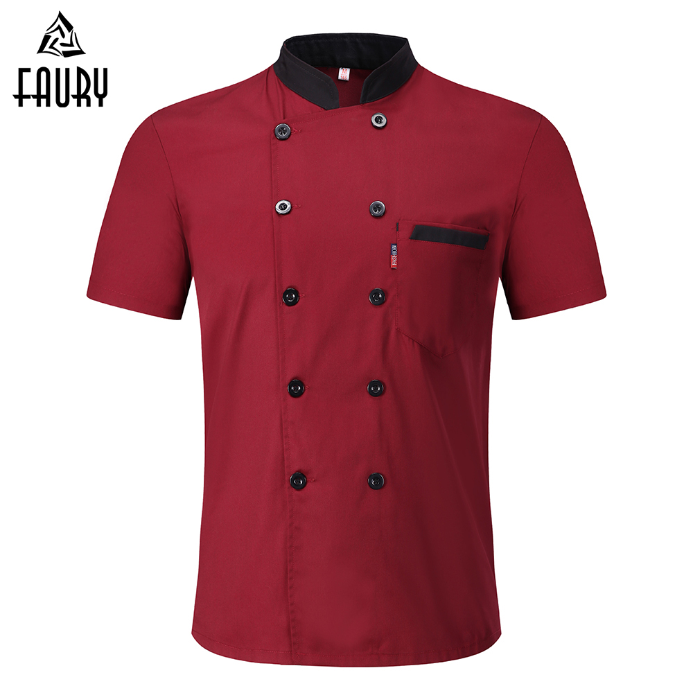 New M-3XL Wholesale Unisex Kitchen Bakery Food Service Chef Uniform Short Sleeve Breathable Double Breasted Chef Jackets & Apron