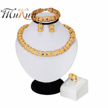 MUKUN Dubai Gold Jewelry Nigerian Wedding African Beads Jewelry Set Gold Color Turkish Jewelry For Women Necklace Earrings Set цена в Москве и Питере