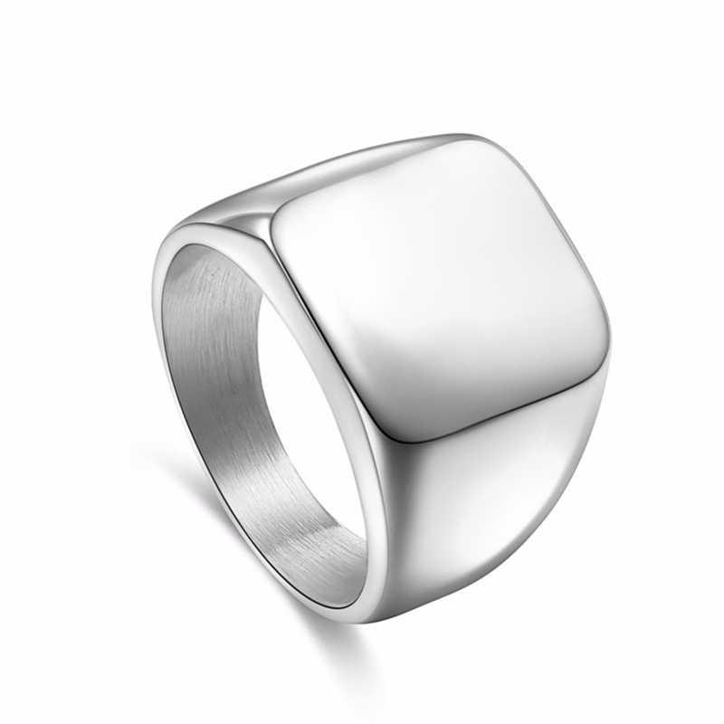 แหวนสแควร์ขนาดใหญ่กว้างซีลแหวน 24 K ไทเทเนียมสตีลแหวนนิ้วมือเงินสีดำทองเครื่องประดับ