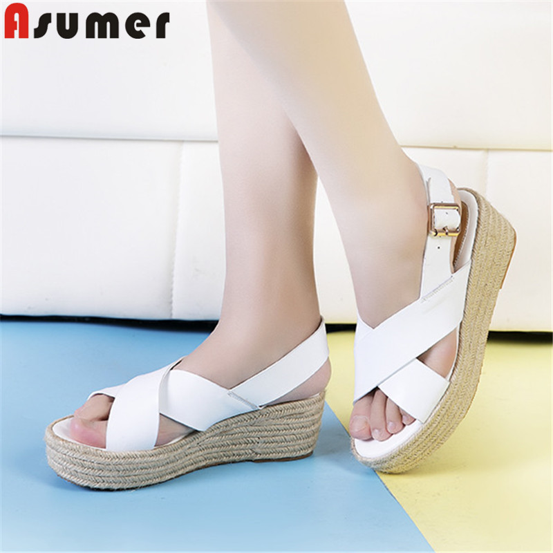 ASUMER 2019 summer new shoes woman platform wedges shoes Casual genuine leather shoes buckle prom sandals
