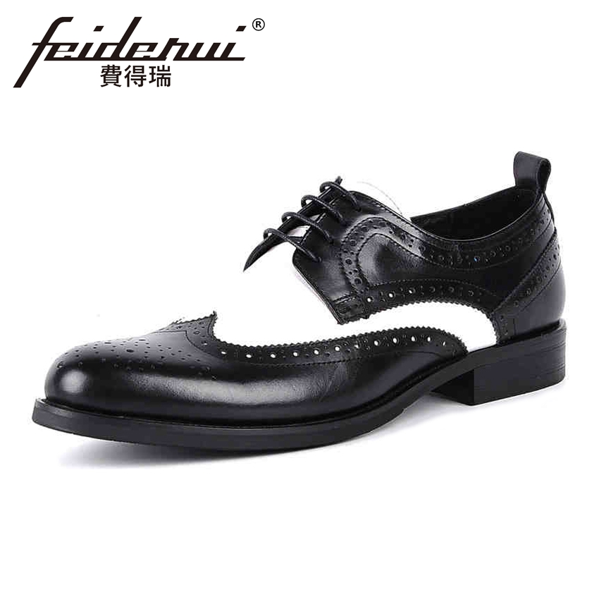Mixed Colors Vintage Genuine Leather Men's Handmade Oxfords Round Toe Lace up Derby Wingtip Man Formal Dress Brogue Shoes YMX63 vintage handmade genuine leather men s oxfords round toe lace up man wingtip prom flats formal dress wedding brogue shoes kud103