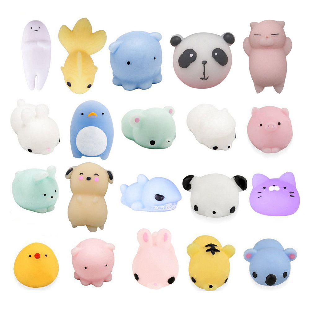 20pcs Cute Cartoon Squeeze Squishy Kawaii Cat Home Decor Toys Stress Reliever Slow Rising Fun Toys For Adults Anti Stress MA29f