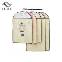 Beige Suit Coat Dust Cover Bag Storage Protector 5pcs