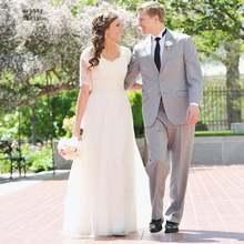 Недорогое свадебное платье принцессы ТРАПЕЦИЕВИДНОЕ кружевное