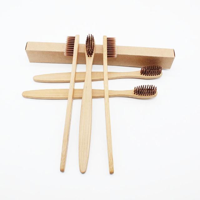 10 unids/lote cepillo de dientes de bambú suave ecológico cepillo de dientes de madera limpieza cuidado bucal cerdas suaves