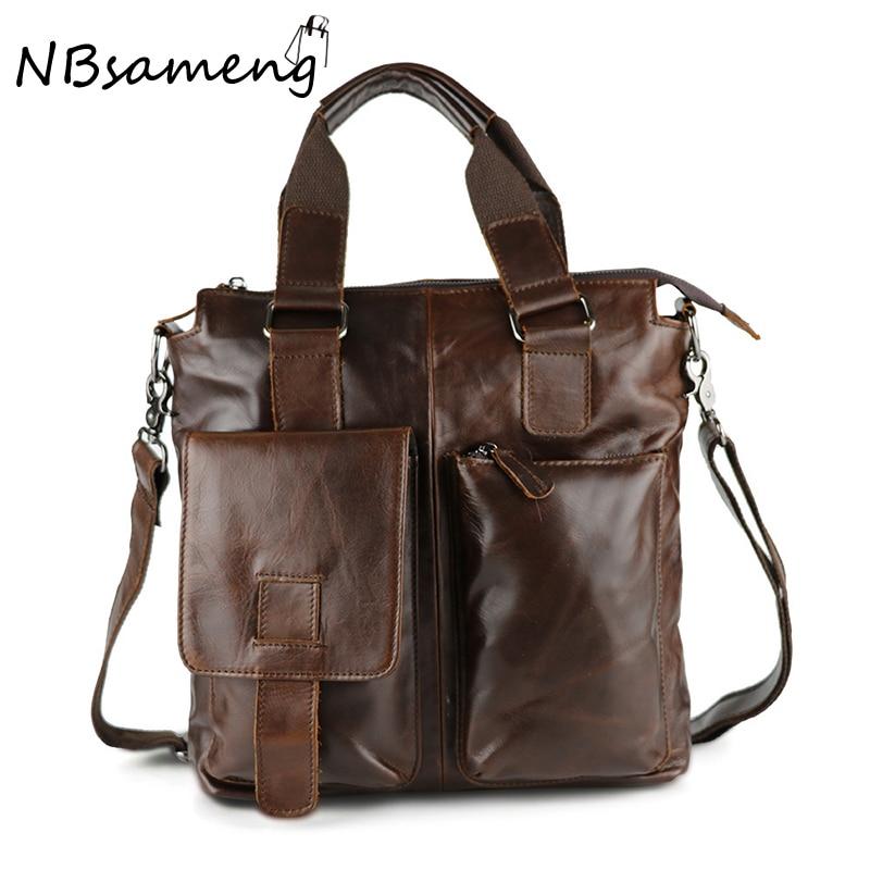 ФОТО 2016 New Vintage Mens Handbag Quality Handbags 100% Genuine Cowhide Leather Men Single Shoulder Tote Bag Bolsa Feminina smb389