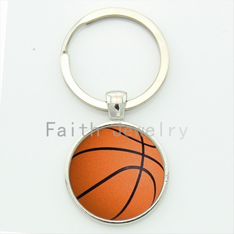 Casual sports basketball key chain classic basketball picture print round glass alloy keychain sports events team gift KC253