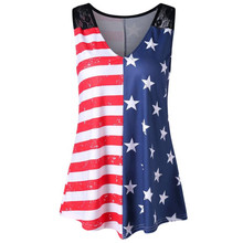 Fashion Women American Flag Print Lace Blouse Insert V-Neck Summer Tops  Shirt Beach Sexy 28136839455f