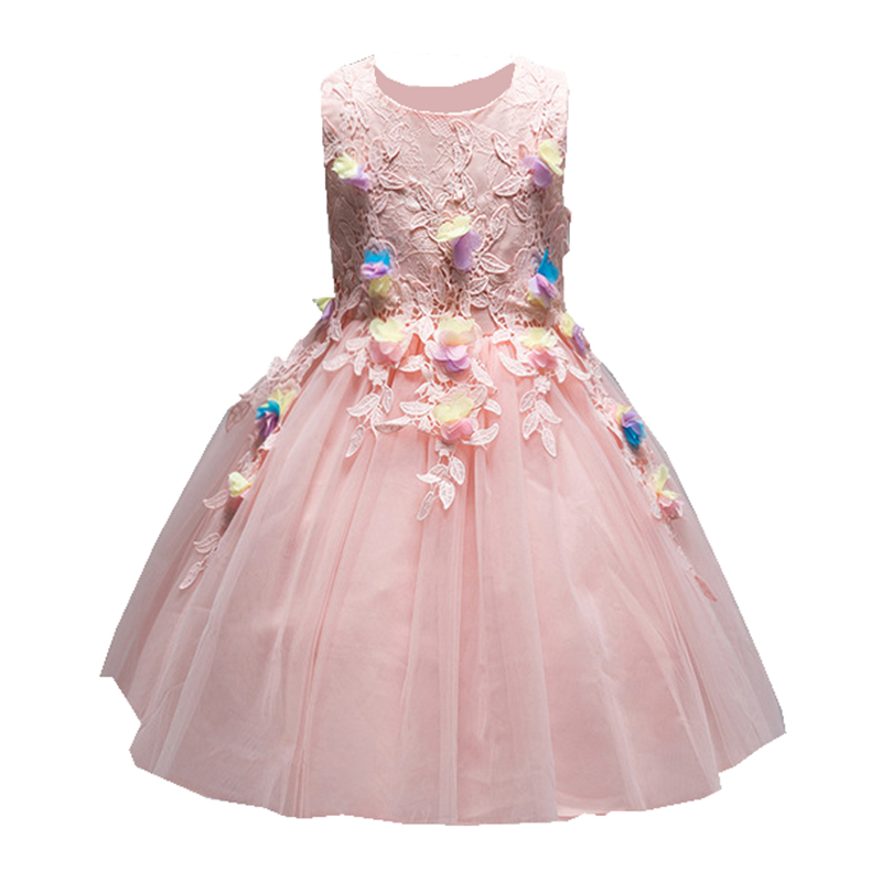 Girls Summer Costume Dresses for Wedding Birthday Party Princess Solids Flowers Dress Kids Frocks Robe Fille 2 -8 Years