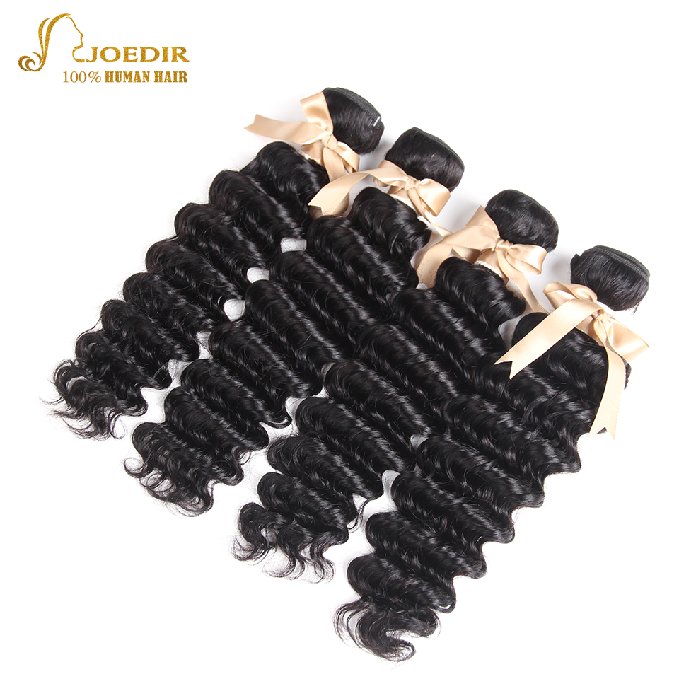 Joedir Hair Store Peruvian Peruvian Deep Wave Hair 4 Bundles One Lot 100% Human Hair Weave Bundles Hair Extensions Wet Weaving
