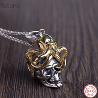 New Solid 925 Sterling Silver Skull & Octopus Pendants for Women Men Vintage Skeleton Silver Jewelry Accessories charm pendant