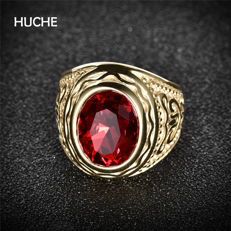 HUCHE Red Stone Gold Color Silver Color Wedding Men Ring