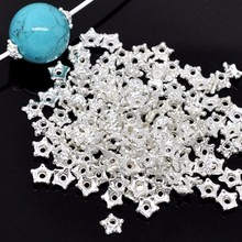 100Pcs Beads Caps Silver Plated Tiny Star Flowers Metal Jewelry DIY Findings 5mm