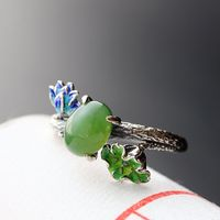 Silver Inlaid Natural Lotus Thai Silver Restoring Ancient Ways Female Offered 925 Sterling Silver Ring
