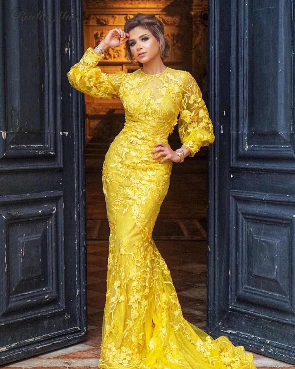 0803d7e5b8 2019 Gold Yellow Lace Long Sleeve Dubai Evening Dress Mermaid 3D Flora  Arabic Celebrity Prom Dresses