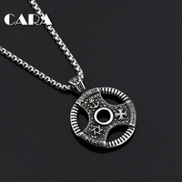 CARA New 316L Stainless Steel Full Rhinestones Dumbell Piece Necklace Pendant Mens Gym Fitness Necklace Jewelry