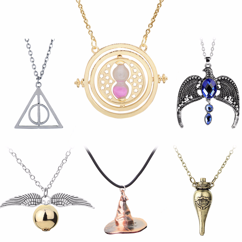 Movie Harri Necklace Death Hallows Time Converter Hourglass Snitch Magic Hat Magic Stone Broom Glasses Potter Rotatable Necklace