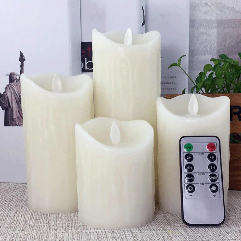 Lovely timer remote led candle night light made by paraffin wax and led bulbs, electronic atmosphere candle lamp,4 size option