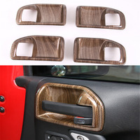 4Pcs Wood Grain ABS Interior Car Inner 4Doors Handle Bezel Decor Bowl Frame Cover Tirm
