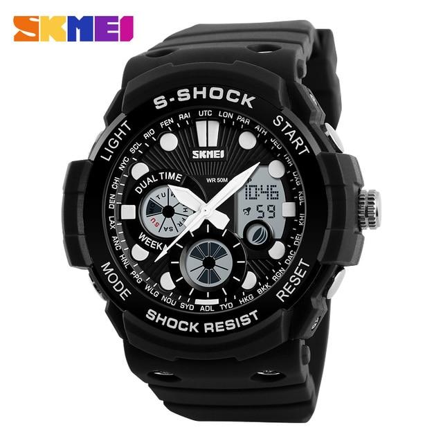 SKMEI 1205 Men Dual Time Watch Outdoor Sports Watches Waterproof PU Watch Chronograph Alarm Clock Military Wristwatch Relogio