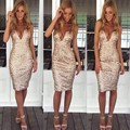4361 Fashion 2015 Sexy Straps Tight Package  Casual Gold  Sequins Bodycon Dresss Sexy Summer V neck  Party MidiDress