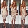 4361 de La Moda 2015 Sexy Correas Apretado Paquete Ocasional Oro Lentejuelas Bodycon Dresss Sexy Summer V cuello Partido MidiDress