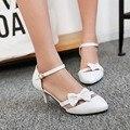 Nuevo verano del dedo del pie poined zapato con cierre dulce finas sandalias de tacón alto dulce dama bowtie mujeres zapatos de gran tamaño 34-43