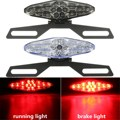 Motorcycle 15 LED Rear Tail Brake Light Stop Running Light With Bracket Holder Smoke Clear