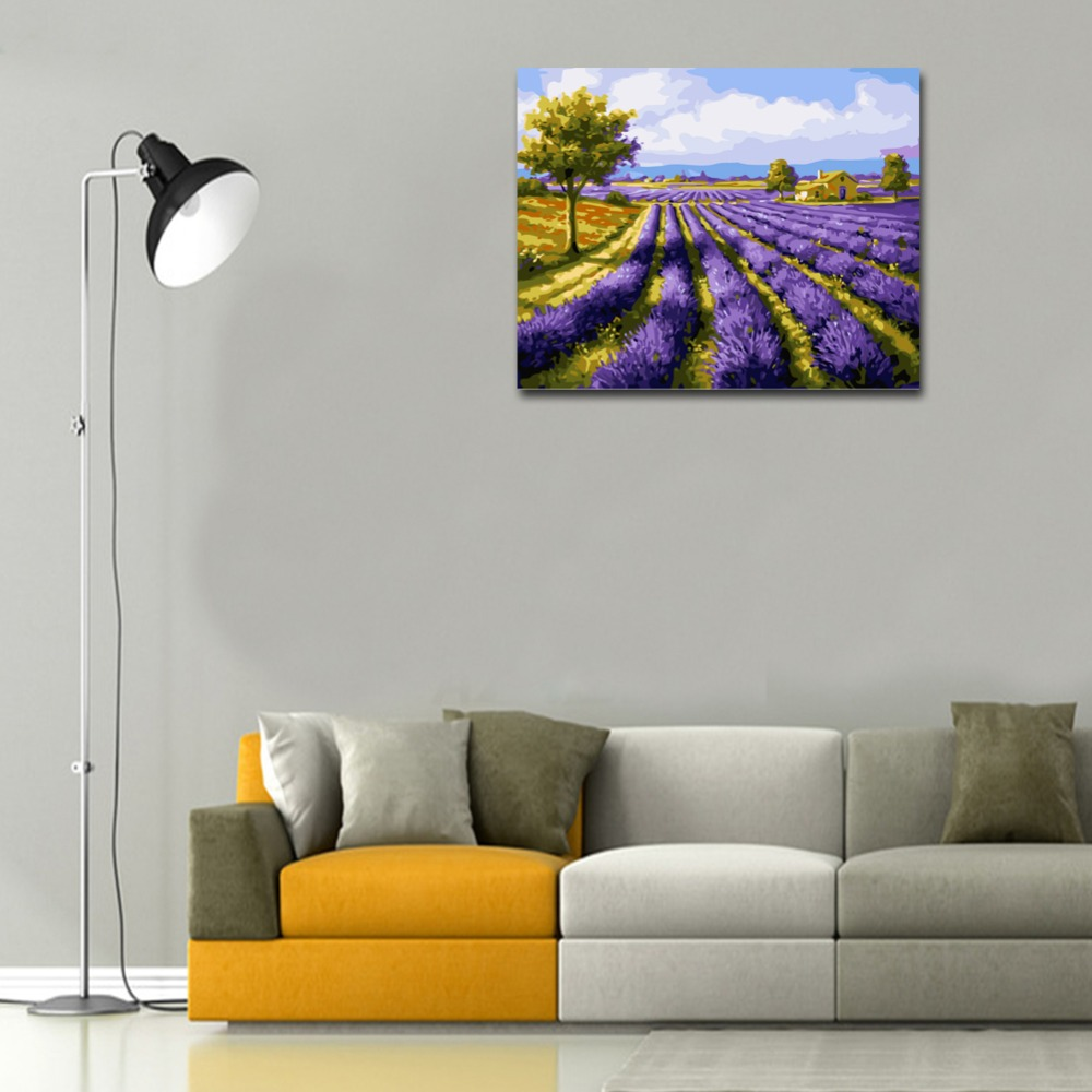 RIHE Blume Bereich Diy Malerei Durch Zahlen Lavendel Ölgemälde Auf Leinwand Hand Gemalt Cuadros Decoracion Acryl Malen Kunst