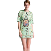 Classic Design European Women Summer Fashion Mini Dress Ptinted Vintage Beading Slim Dress Plus Size XXL