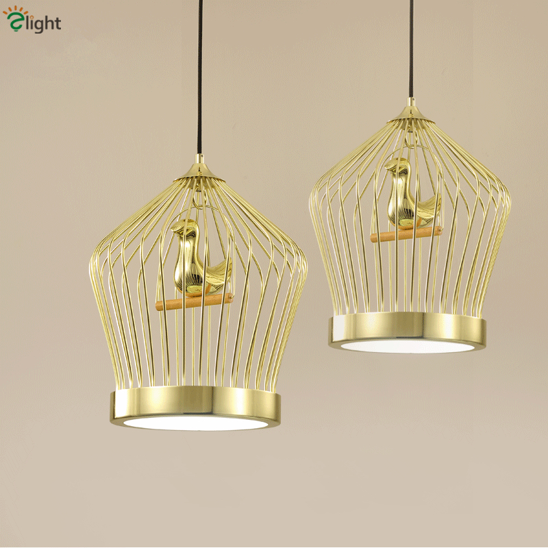 North Europe Plate Gold Metal Birdcage 9W Led Pendant Light Creative Loft Retro 3D Gold Resin Restaurant Led Suspended Lamp tw l0603 led birdcage light yellow