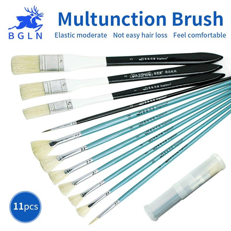 BGLN 11Pcs Multifunction Bristle Weasel Hair Oil Painting Brush Set With Plastic Box Artist Acrylic Paint Brush School Students