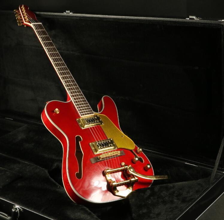buy vintage tl electric guitar f hole semi hollow body bigsby bridge humbuckers. Black Bedroom Furniture Sets. Home Design Ideas