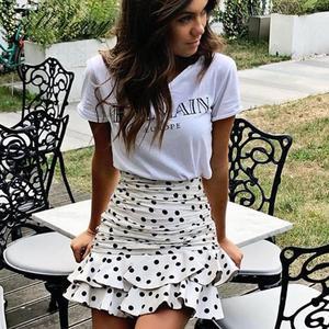 Image 5 - Sollinarry, узор в горошек, Элегантные короткие женские юбки, высокая талия, Модные осенние юбки с оборками, Дамская зимняя облегающая юбка в стиле ретро