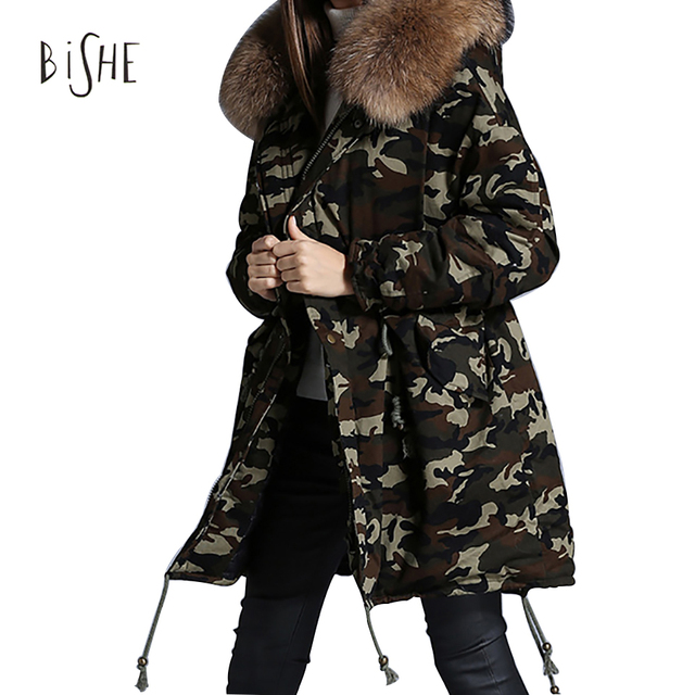 2017 Women Winter Parka Military Camouflage Fur Collar Hooded Coat Outwear Fox Fur Collar Snowimage Winter Jacket Brands