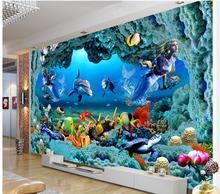 цены 3d wallpaper custom photo non-woven mural wall stickers 3 d Mermaid undersea tunnel painting room wallpaper for walls 3d